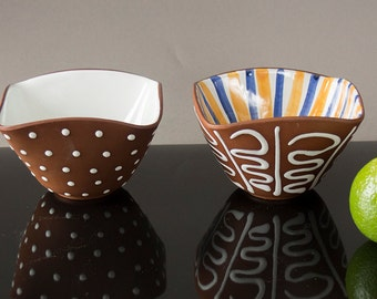 Collection of 2 Graveren Art Pottery Norsk Norway Bowls. Vintage Mid Century Modernist