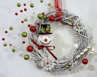 Christmas Wreath, Holiday, Frosty Snowman