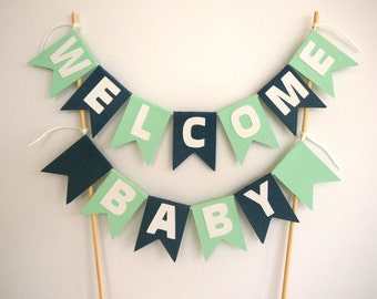 Personalised mint green, navy blue and white cake bunting- cake topper- custom- age- name- birthday- baby shower- engagement party