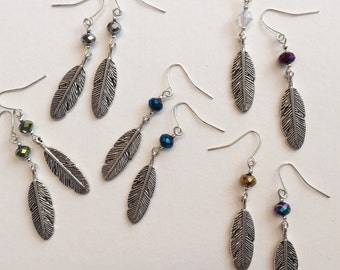Crystal feather drop earrings , various colours