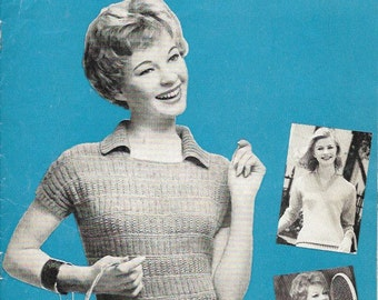 1940s 1950s 1960s Vintage Knitting Pattern - Womens Sweater/Jumper 34/ 36 /38 inch chest- Instant Download