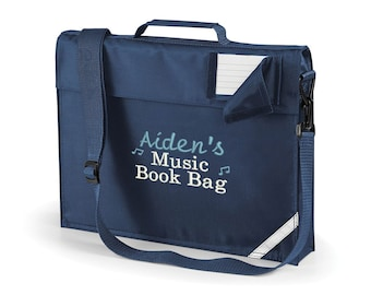 Personalised Music Lesson Book Bag with your Child's Name, Navy Bag, Cute Bag for Carrying Sheet Music