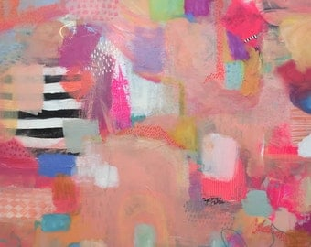 """original mixed media abstract painting on 30 x 30"""" canvas"""