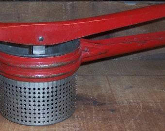 Vintage Red Handle Potato Ricer/Strainer/Masher - Primitive Farmhouse  - Kitchen Utensils - Cooking Gadgets