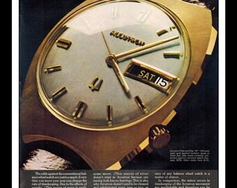 "Vintage Print Ad December 1969 : Accutron By Bulova Watch Wall Art Decor 8.5"" x 11"" Print Advertisement"