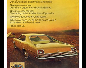"Vintage Print Ad April 1969 : Ford XL Sports Roof Car Automobile Wall Art Decor 8.5"" x 11"" Advertisement"