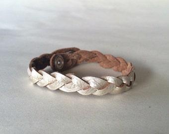 Platinum Braided Leather Bracelet