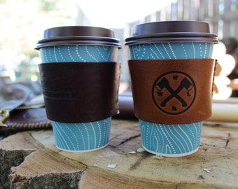 Reclaimed Leather Coffee Cup and Pint Glass Sleeve - recycled, handmade, custom - NWAL#0010