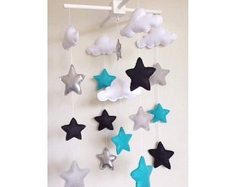Felt stars and clouds baby crib mobile