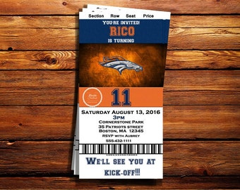 Denver Broncos Ticket Birthday Invitation-Shipping Included on Price for Print Orders- Can be customized to any occasion