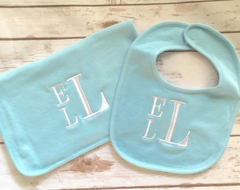 Boys Monogrammed Bib and Burp Cloth Set, personalized baby set