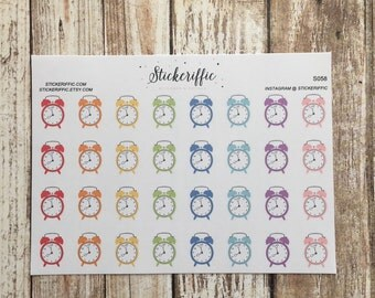 S058  Retro Alarm Clock Stickers - Rainbow Colors - for your Planner, Journal, or Scrapbook