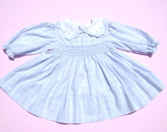 vintage petit ami girls easter dress with smocking size 12 months blue and white plaid with floral design long sleeve