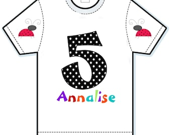Ladybug Personalized Kids Birthday Party Shirt