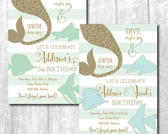 Mermaid Fish Birthday Invitation printable/Digital File/Under the Sea Invitation, swim party, pool party/Wording can be changed