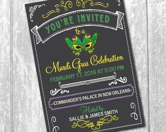 Mardi Gras Party Invitation / DIGITAL FILE / printable / wording can be added or changed