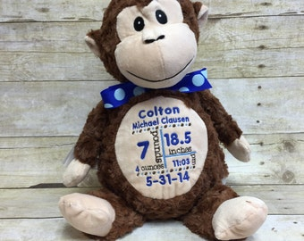 Baby Cubbies Personalized Stuffed Brown Monkey - adorable baby gift!