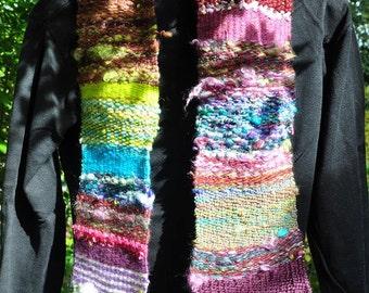 """Calypso"" woven hand from hand spun wool scarf"