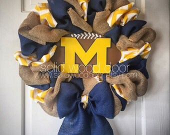"22"" Spring Wreath, Summer Football Wreath, Michigan Football Burlap Wreath, Michigan Wreath, VERY FULL!, Blue and gold wreath, college footb"