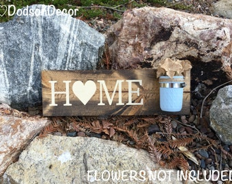 Mason Jar Wood Wall Hanging,Home Sign,Home Decor,Canning Jar,Hand Painted,Wall Decor,Vase Decor,Rustic,Shabby Chic,Country Chic