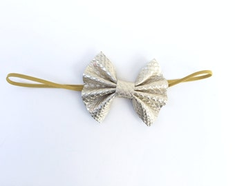 Gold Leather Bow on Elastic Headband or Clip