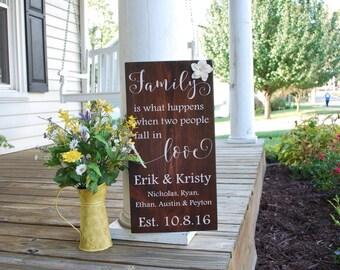 Wedding sign- Blended family wood sign.  Wedding gift, weddings, home decor, wedding sign, wood sign, blended home, blended families, signs.