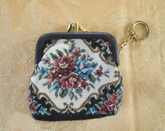 Embroidery Look Coin Purse Vintage 1980's Key Ring Cloth Small Coin Purse Floral Tapestry Accessory - Bag026