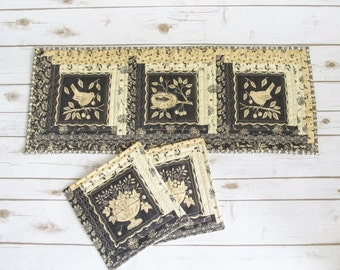 Primitive Quilt Table Set - Quilt Table Runner - Quilt Mugs Rug Set - Quilt Table Set - Quilted Runner - Table Runner with Mug Rugs - OOAK