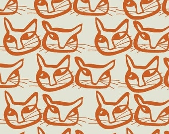 Orange Cat Fabric - Hemma by Lotta Jansdotter for Windham Fabrics - Mirre in Mandarin - Fabric by the Half Yard