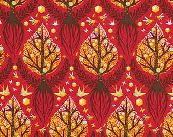 Tula Pink Tree Fabric - Birds and Bees by Tula Pink for Free Spirit - Tree of Life in Cinnamon - Fabric By the Half Yard