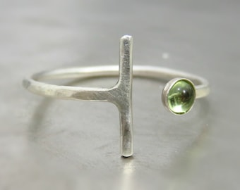 sterling silver ring with stone, silver peridot ring, thin sterling silver ring