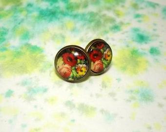 Floral stud earrings - Picture stud earrings - Glass stud earrings - Bright stud earrings - Bright floral studs - Flower post earrings