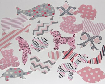 30 Iron On Appliques Girl Baby Shower, Light Pink and Grey Iron On, Girls Baby Shower Activity, Pink and Grey Baby Shower