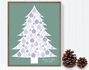 Wedding Guest Book Alternative Poster DIY / Christmas Tree, Winter Wedding, Holidays / Purple, Pine Green / Personalized ▷Printable PDF