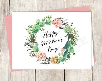 Rustic Mother's Day Card Card DIY / Happy Mother's Day / Cactus, Coral Flower Wreath, Fiesta Folded Card ▷ Instant Download Printable PDF