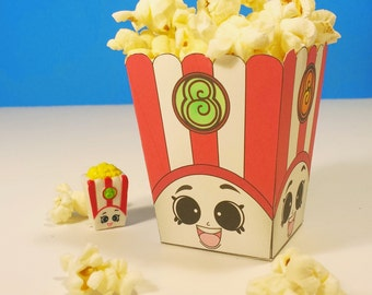 "5"" Poppy Corn Popcorn Box with Green - Shopkins Birthday Party"