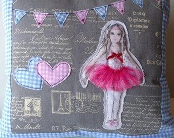 Ballet Dance Cushion Cover, Pink Ballerina Girls Cushion, Christmas Gift, Ballerina Tutu, Ballet Cushion, Valentine Gift, Ballerina Pillow