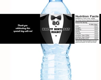 80th Birthday Party Water Bottle Labels - Tuxedo - Formal Affair - 80th Birthday - Birthday Party Decor - Birthday Water Bottle Labels