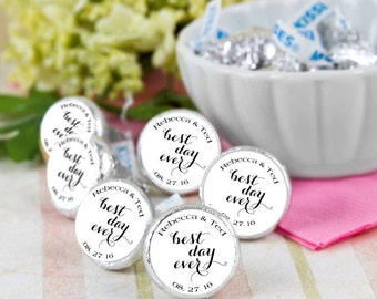 108 Best Day Ever Hershey Kiss® Stickers - Hershey Kiss Stickers Wedding - Hershey Kiss Labels - Wedding Favors - Candy Stickers