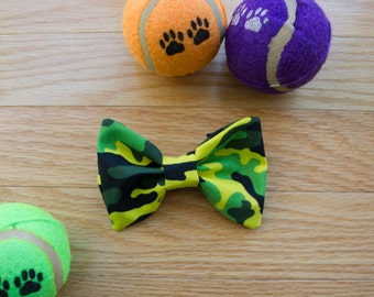 Camouflage Dog Bow Tie, Camo Dog Bow Tie, Green Camo Dog Bow Tie, Dog Bow Tie, Green Camouflage