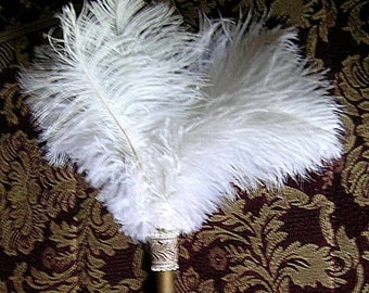 White Whisk Ostrich Feather Fan - Renaissance Tuft Fan