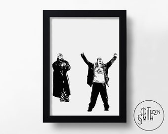 JAY & SILENT BOB - Clerks - Kevin Smith - Hand-Drawn Film Art Print/ Movie Poster
