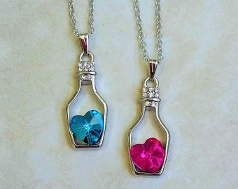 SALE ~ Crystal Heart in a Bottle Silver Plated Necklace 16-18 Inches Adjustable
