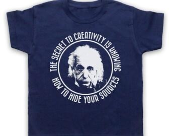 Einstein Secret To Creativity Childrens Graphic Print Physics Science Inspired T-Shirt Tee
