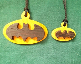 Batman Jewelry, Handcrafted Wood Necklace, Exotic Wood Pendant, Father and Son Pendants, Comic Book Jewelry