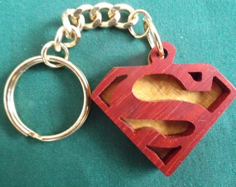 Superman Keychain, Handcrafted Wooden Gift for Him, Superhero Keychain, Exotic Wood, Geeky Keychain, Comic Book Gift