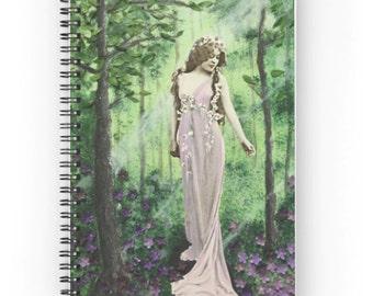 Woodland Goddess ruled page spiral notebook journal