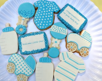 New Baby Cookies, Baby Shower Gift, It's A Boy Cookie Box, Themed Cookies, Baby Cookies, Baby Cookie Favors,  Baby Shower Cookies Boy