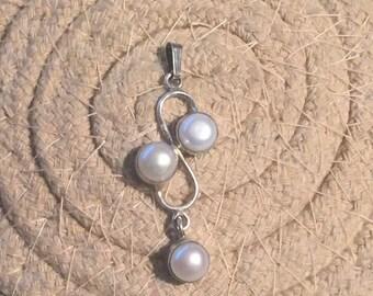 Pearl Pendant-Sterling Silver Pendant-Handmade Vintage Pendant-Ethnic-Hippy-Gypsy-LV57
