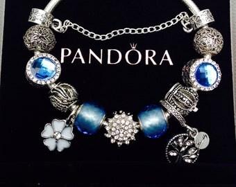 Jewelry, Pandora charms Bracelet, Disney Charms, European charm bracelets, glass Beads for Pandora Bracelet, beaded bracelet, blue charms